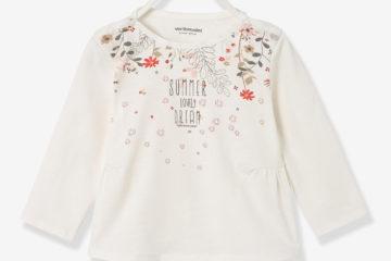 bedrucktes Shirt für Baby Mädchen wollweiß