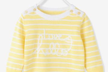 gestreifter Pullover für Baby Mädchen gelb gestreift