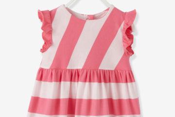 gestreiftes Mädchenkleid für Babys rosa gestreift